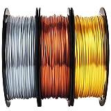 Shiny Silk Gold Silver Copper PLA Filament Bundle, 1.75mm 3D Printer Filament, Each Spool 0.5kg, 3 Spools Pack, with One 3D Printer Remove or Stick Tool MIKA3D