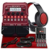 Zoom B1 Four Electric Bass Effects Processor Bass Multi-effects Pedal + SR360 Over-Ear Dynamic Stereo Headphones, XPIX Ultra High Capacity Batteries With Travel Quick Charger & Deluxe Accessory Bundle