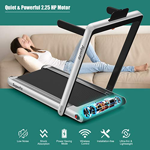 GYMAX 2 in 1 Under Desk Treadmill, 2.25HP Folding Walking Jogging Machine with Dual Display, Bluetooth Speaker & Remote Controller, Electric Motorized Treadmill for Home/Gym (Silver) 3