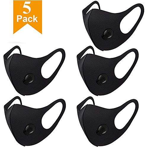 5 Pack Face Cover with Breathing – Washable, Reusable Face Cover – Protection from Dust, Pollen, Other Airborne Irritants