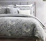 Tahari Home Maison Bedding 3 Piece Queen Size Luxury Cotton 3 Piece Duvet Cover Set Jacobean Floral Pattern in Shades of Tan Gray Cream Taupe on Gray