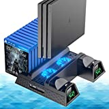 OIVO PS4/ Slim/Pro Cooling Station, Vertical Cooling Stand with Upgraded Fan Indicator Lamps, Dual Controller Charger Station and Game Storage for Playstation 4 Console (Regular/Slim/Pro)