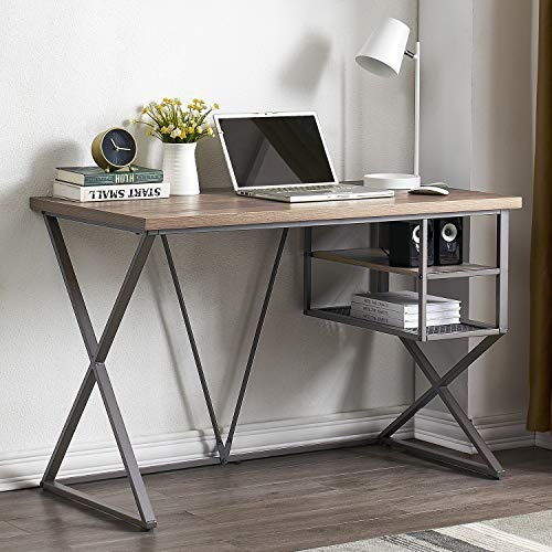 Mneetrung Industrial Computer Desk with Storage Shelves, Home Office...