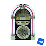 NK Mini Jukebox con Am/FM/USB/SD/BT/Lector CD - Luces LED, Música, Altavoz, Home Audio, Bluetooth