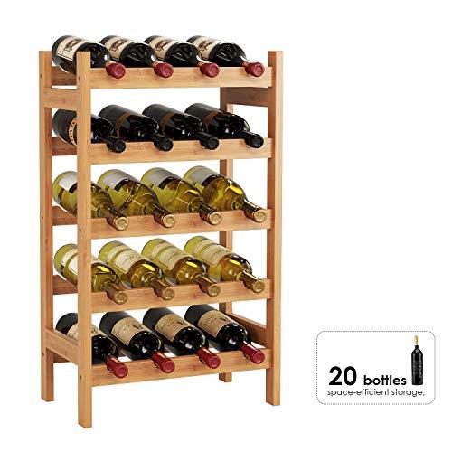 HOMECHO Portabottiglie Vino in Bambù, Portabottiglie in Legno per 20 Bottiglie, Cantinetta Porta...