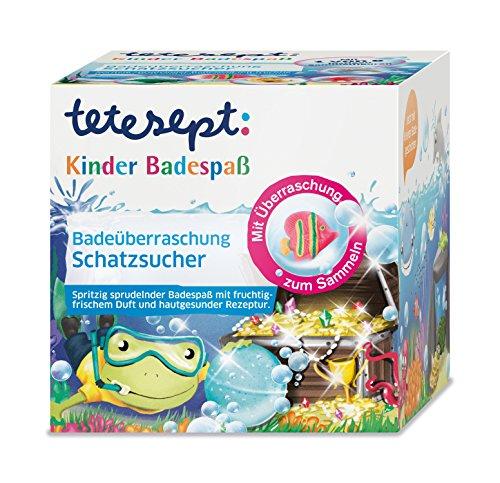 """tetesept Kinder Badespaß Badeüberraschung \""""Schatzsucher\"""", Spritzig sprudelnde Badeessenz - inkl. Sammelfigur und kleiner Badegeschichte - 1 x 140 g"""