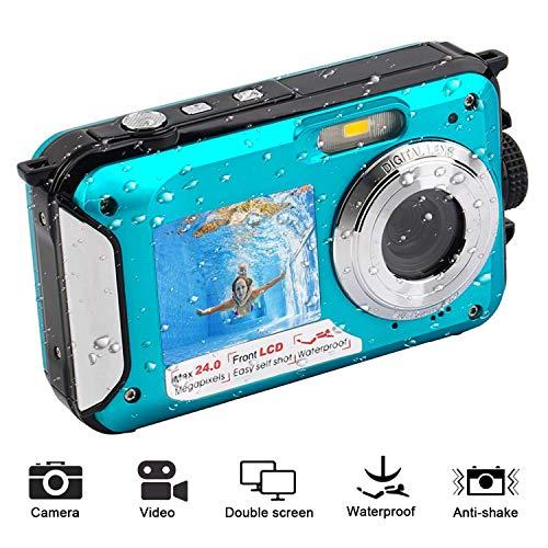 Zantec Camera Digitale Fotocamera Subacquea Impermeabile Full HD 1080P Fotocamera Digitale Videoregistratore da 24 MP Selfie Doppia Registrazione Videocamera DV Blu
