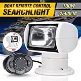 Boat Spotlight,100W 360° Rotate Remote Control Spot Light,Marine Portable Halogen Search Light, 12V...
