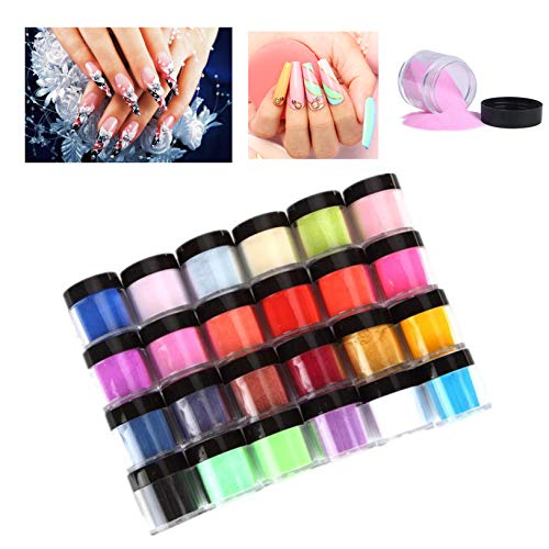 VEZARON 【US Fast Shipment 】 18/24 Color Acrylic Powder, Colored Acrylic Nail Powder for Nails Art Tips UV Gel Powder Dust Design Decoration 3D Manicure (24 Colors-Price Cut $3)