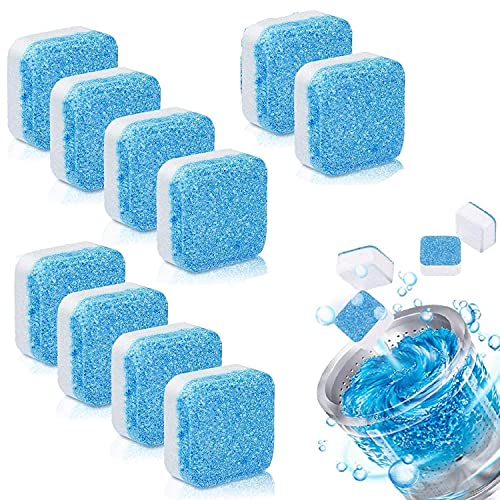 Twonzilla 10pcs Tablet Descaling Powder for Washing Machine Deep Cleaner Effervescent Tablet for All Company's Front and Top Load Machine, Tablet for Perfectly Cleaning of Tub& Drum Stain Remover (10)