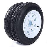 MILLION PARTS Two 12' Trailer Tires Rims 4.8-12-4PR-5LUG P811 Wheel White Spoke
