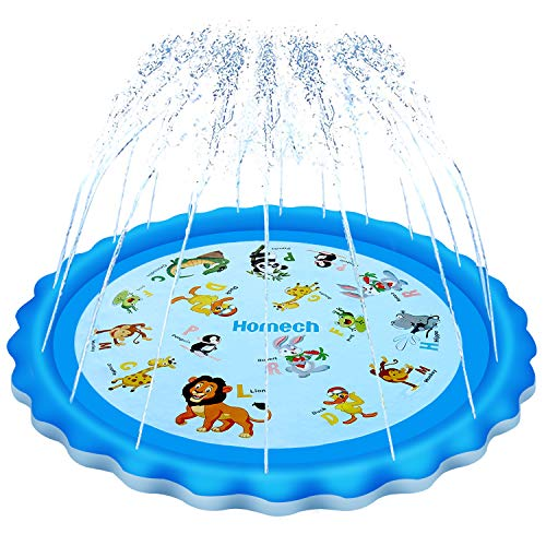 "Homech Sprinkler for Kids, Splash Pad, Outdoor Inflatable Sprinkler Water Toys, Wading and Learning, 68"" Kiddie Water Play Mat Toys,Baby Wading Swimming Pool for 2-12 Years Old Baby and Toddler Girls"
