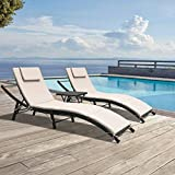 GUNJI Chaise Lounge Chairs for Outside 3 Pieces Patio Adjustable Lounge Chairs Set of 2 with Table Outdoor Rattan Wicker Pool Chaise Lounge Chairs Cushioned Poolside Folding Chaise Lounge Set (Beige)