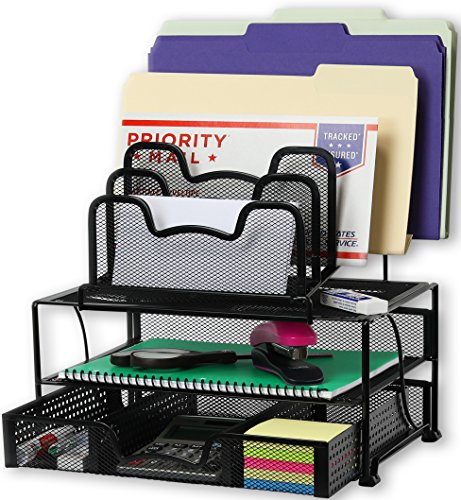 SimpleHouseware Mesh Desk Organizer with Sliding Drawer, Double Tray...