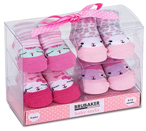 BRUBAKER 4 paia di calze neonato da 0-12 mesi - calzini femminuccia design faunistico in rosa menta