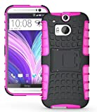 JKase Diablo Tough Rugged Dual Layer Protection Case Cover with Build in Stand for HTC The All New One Plus (M8) / HTC One 2 - Retail Packaging (Pink)