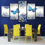 ZFJ920Canvas Painting Mural Home Decor HD Print Poster 5 Pieces Blue Butterfly and White Gypsophila Paniculata Picture Without Frame Rkmaster