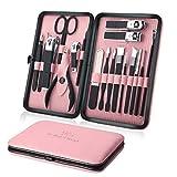 Juego de cortaúñas profesional, kit de aseo, herramientas de manicura y pedicura, 18 piezas con caja (rosa)