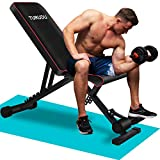 TURUDU Weight Bench, Adjustable Strength Training Bench for Full Body Workout, Multi-Purpose Utility Workout Bench Foldable Incline Decline Bench Press for Home Gym