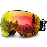 AKASO OTG Ski Goggles, Snowboard Goggles, Mag-Pro Magnetic Interchangeable Lenses, Anti-Fog, 100% UV Protection, Helmet Compatible, Snow Goggles for Men & Women