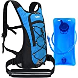 Tonitrus Hydration Backpack with Sport Waist Pouch, 70oz Water Bladder Backpack for Man Women Kid, Lightweight Nylon Hydration Pack for Hiking Camping Cycling Running (Blue)