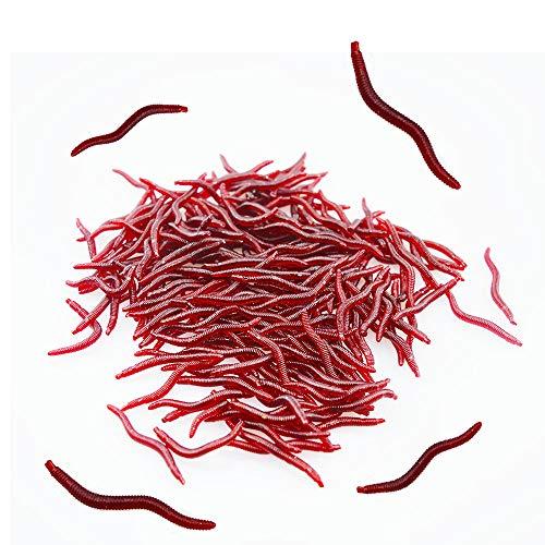 Senven Artificiale Earthworm, Biomimetic Morbido Silicone Earthworm Esche Worm Esche da Pesca Simulazione Red Worms plastica Verde Ambiente Strong Tentazione Esca Finta Red Worm - 200Pcs