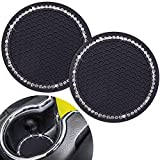 Cute Car Cup Coaster,Dermasy 2PCS Universal Vehicle Cup Holder Insert Coaster 2.75 inch Silicone Anti Slip Bling Crystal Rhinestone Auto Car Accessories for Women & Lady (Black and White)