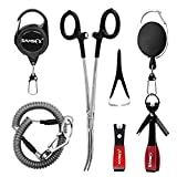 SAMSFX Fly Fishing Tools and Accessories Combo for Anglers Vest Backpack Assortment (Black 7 in 1)