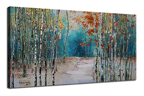 """Ardemy Canvas Wall Art White Birch Trees Picture Painting One Panel Blue Forest Landscape, Modern Nature Artwork Plants Prints Extra Large Framed for Home Office Bedroom Living Room Wall Decor 60""""x30"""""""