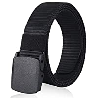 Material: made of nylon belt + ykk buckle, firm and durable Features: anti-allergy, anti-friction and quick-drying Automatic buckle: wear easily and fast, just press down the buckle when belt go through it Length: About 115CM, You can take off the bu...