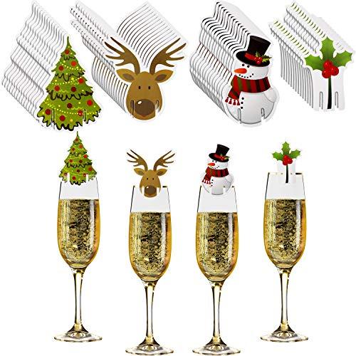 60 Piezas Decoraciones de Copa de Vino de Navidad Tarjetas de Copa Decoración de Mesa de Marcadores de Copa de Navidad para Suministros de Fiesta de Navidad, 4 Estilo