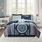 Intelligent Design Complete Bag Casual Boho Comforter with Sheet Decorative Pillow, All Season Bedding Set, Full, Loretta Navy
