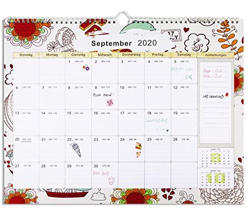 2020-2021 Wandkalender/Familienplaner, Schuljahreskalender für die Wand, Ferientermine, viele Zusatzinfos, Wandkalender für 16 Monate