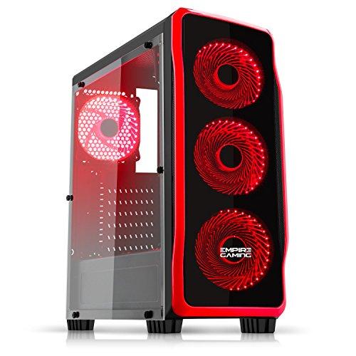 Empire Gaming - PC-Gehäuse Gaming DarkRaw Schwarz LED-Leuchte Rot: USB 3.0 und USB 2.0, 4 LED-Lüfter 120 mm + Steuergerät für Lüfter, Seitenwand 100% transparent - ATX / mATX / mITX