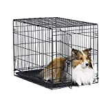 New World 30' Folding Metal Dog Crate, Includes Leak-Proof Plastic Tray, Dog Crate Measures 30 L x 19 W x 21 H Inches, for Medium Dog Breeds