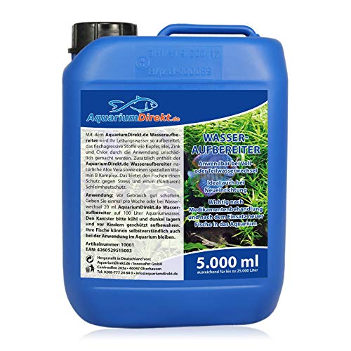AquariumDirekt Wasseraufbereiter für das Aquarium (GRATIS Lieferung in DE - Perfekt bei Voll- oder Teilwasserwechsel und bei Neueinrichtung - Wasseraufbereitung - Leitungswasser), Größe:5 L