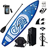 FunWater Inflatable 10'x31''x6'' Stand UP Paddle Board Ultra-Light (17.6lbs) Everything Included ISUP, Adj Paddle, Kayak Seat, Pump, SUP Backpack, Leash, Waterproof Bag, Non-slip Deckpad Youth & Adult