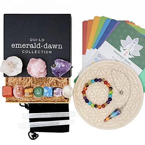QUI-LO Emerald Dawn Premium 25 Piece Healing Crystals Altar...