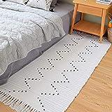 Hand Woven Rug Runner, Boho Rug for Bedroom, Cotton Small Tassels Area Rug for Kitchen Laundry Bathroom Doorway, Beige 2'x4.3'