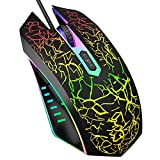 VersionTECH. Wired Gaming Mouse, Ergonomic USB Optical Mouse Mice with Chroma RGB Backlit, 1200 to 3600 DPI for Laptop PC Computer Games & Work Black