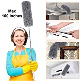 Microfiber Dusters for Cleaning with Extension Pole (30-100 inches), Scratch-Resistant Cover, Bendable, Washable, Detachable, Lint Free Dusters for Cleaning Ceiling Fan, Blinds, Cobwebs, Furniture