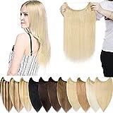 Extensiones de Cabello Natural Hilo Invisible Sin Clip Una pieza Ajustable Hair extension Pelo...