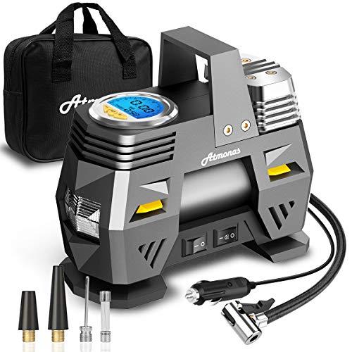 Atmonas Compresseur à Air Portatif, 12V 150PSI 120W Gonfleur Pneus Voiture Numérique, Mini Gonfleur Electrique Arrêt Automatique, Lampe LED, 3 Adaptateurs de Buse pour Voiture/Moto/Vélo/Balles