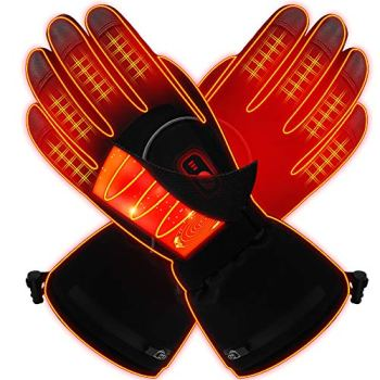 GLOBAL VASION Heated Gloves for Men Rechargeable Hand Warmers Outdoor Ski Hiking Snowboating Heated Insoles Finger Warmers Gloves(L)