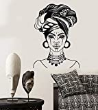 Vinilo Pared Mujer Africana Turbante Moda Nativa Cara Tatuaje Art Deco