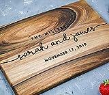 Personalized cutting board, Engraved cutting boards, Anniversary or Wedding Gift for couple, Bridal shower, Housewarming Oak Walnut (Walnut 10x14, Millers)