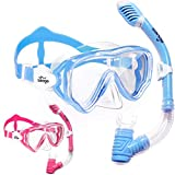 2 Pack Kids Snorkel Set Dry Top Snorkel Mask Snorkeling Gear for Kids Boys Girls Youth, No Leak Comfy MouthPiece Anti-Fog 180° Panoramic View Scuba Diving Swim Pool Equipment Snorkel Kit with Mesh Bag