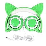 AOUTOS Katze Kopfhörer, Wiederaufladbare niedliche Katze Ohr Kopfhörer mit LED blinkt glühende Lichter faltbar über Ohr Cos-Play Fancy Headsets(Grün)