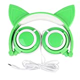 AOUTOS Cat Headphones, Rechargeable Cute Cat Ear Headphones with LED Flashing Glowing Lights Foldable Over Ear Cos-Play Fancy Headsets (Green)