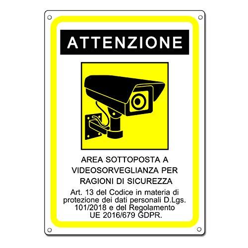 Cartello area videosorvegliata | Telecamera videosorveglianza per negozio e proprietà privata |GDPR 2020 | plastica (20x15 cm) (1 Pezzo Cartello Area Videosorvegliata)
